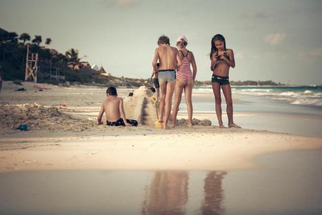 Kids playing on the Beach Tulum