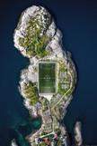 Soccer Field Lofotoen Henningvaer Drone Photo