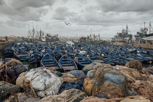 Essaouira Hafen blaue Boote