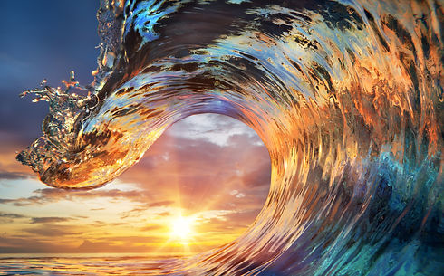 Colorful Ocean Wave. Sea water in crest