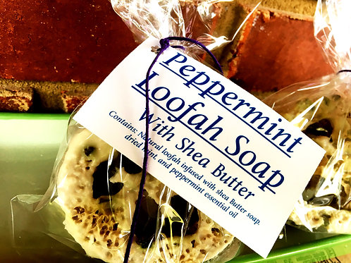 Peppermint Loofah Soap with Shea Butter