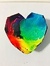 Faceted Heart Pendant - Rainbow