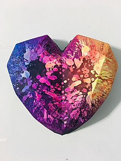 Faceted Heart Pendant- Rainbow