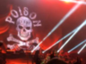 Poison skull on backdrop Live in Toronto