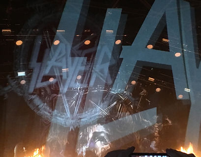 Cool Slayer logo projection onto front stage curtain