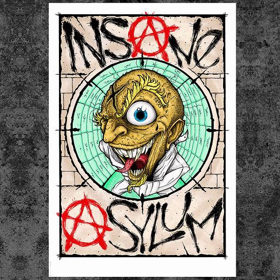 """INSANE ASYLUM 13"""" x 19"""" ART PRINT"""