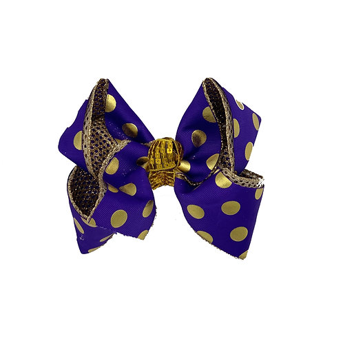 Purple and Gold Dotted Bow