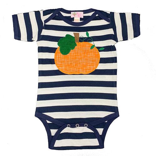 Pumpkin on Navy Stripes