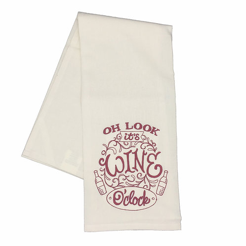 Wine O'clock Dish Towel