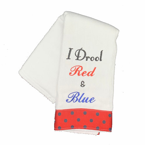 I Drool Red & Blue Burpcloth