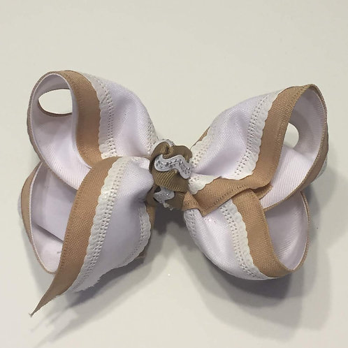 White and Tan Bow