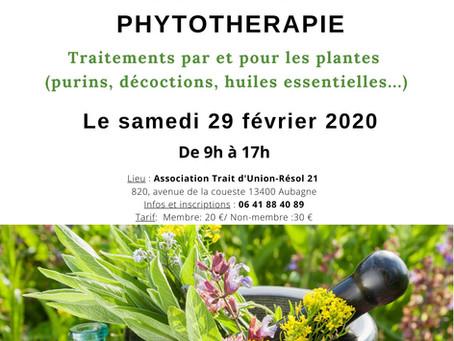 "Atelier formation ""Phytothérapie"" le samedi 29 février 2020"