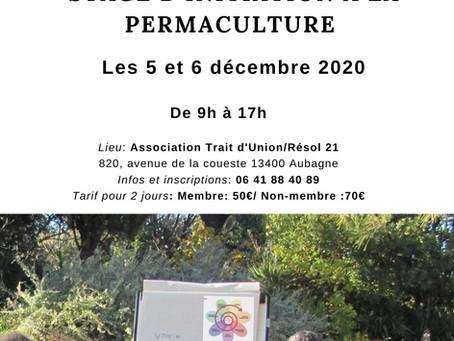 """STAGE """"Initiation à la Permaculture"""" les 5 et 6 décembre 2020"""