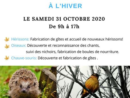 """ATELIER """"Préparons nos jardins à l'hiver"""" le 31 octobre 2020, animé par la LPO"""