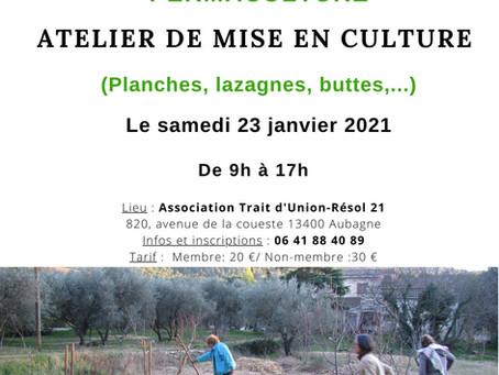 """ATELIER de """"Mise en culture"""" le 23 janvier 2021"""