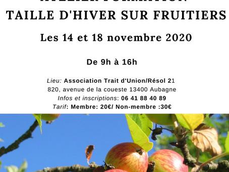 """ATELIER """"Taille d'hiver sur fruitiers"""", les 14 et 18 novembre 2020"""