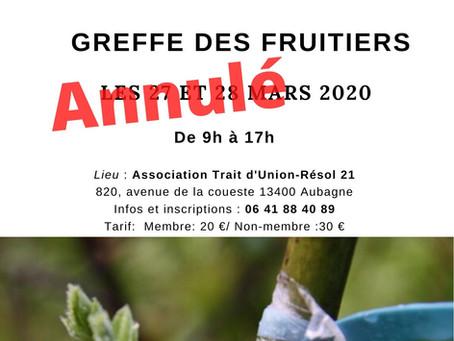 """Atelier Formation """"Greffe des fruitiers"""" les 27 et 28 mars 2020"""