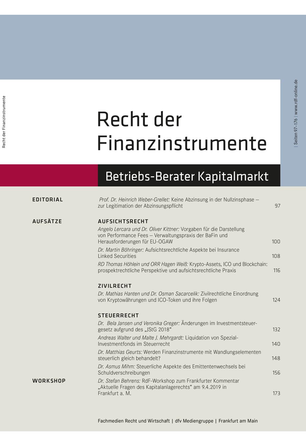 Recht der Finanzinstrumente