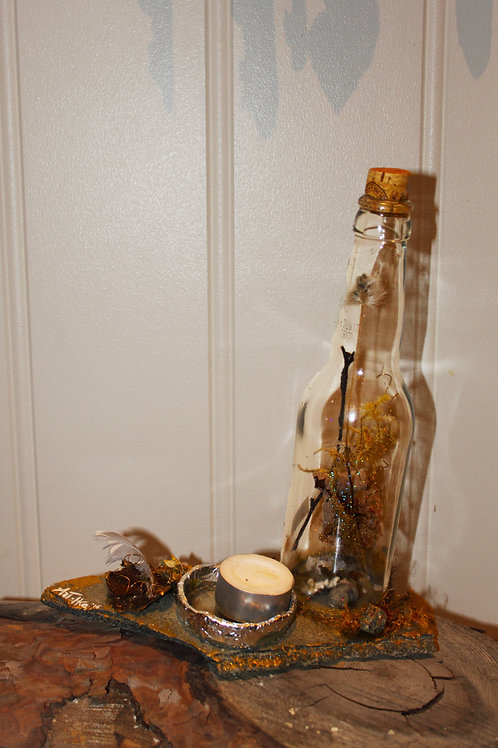forest bottle candle holder