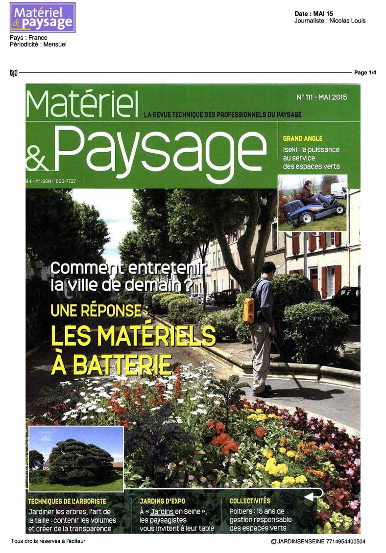 Matériel et paysage N° 111 Mai 2015
