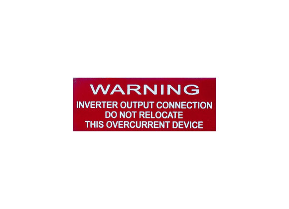 Warning Output Inverter Breaker Label Placard