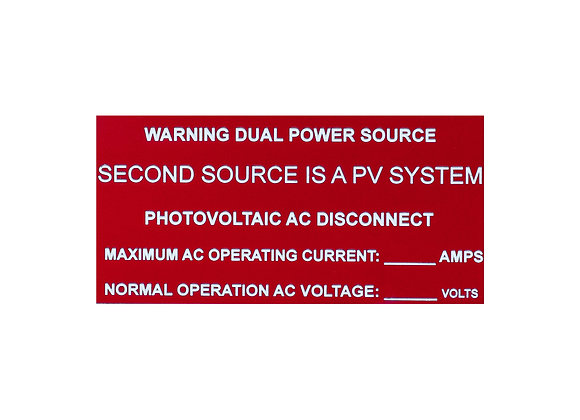Warning Dual Power Source and AC Disconnect