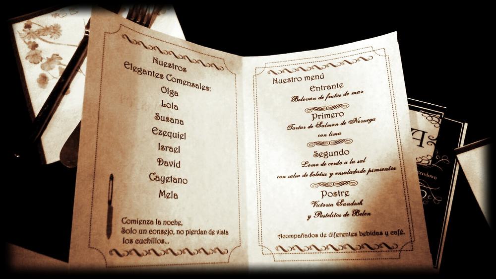 menú realizado por participantes de una cena con asesinato a domicilio de Cluedo Sevilla