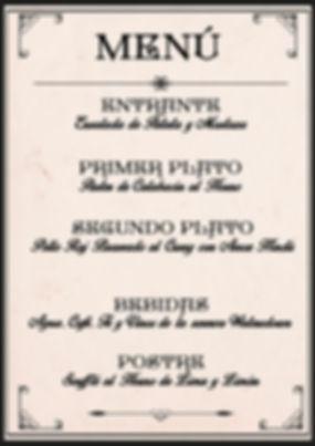 Menú victoriano de Cluedo Sevilla en La Grulla