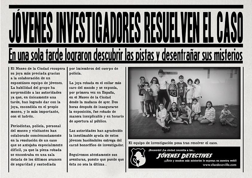 Noticia sobre los jóvenes investigadores del Club de Jóvenes Detectives de Cluedo Sevilla