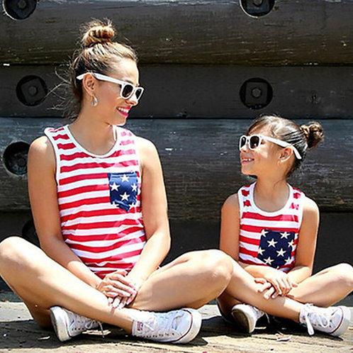Mother Daughter Family T-Shirt Summer USA Flag