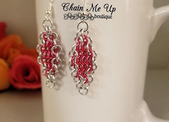 Diamond Style Earrings Pink/Slv