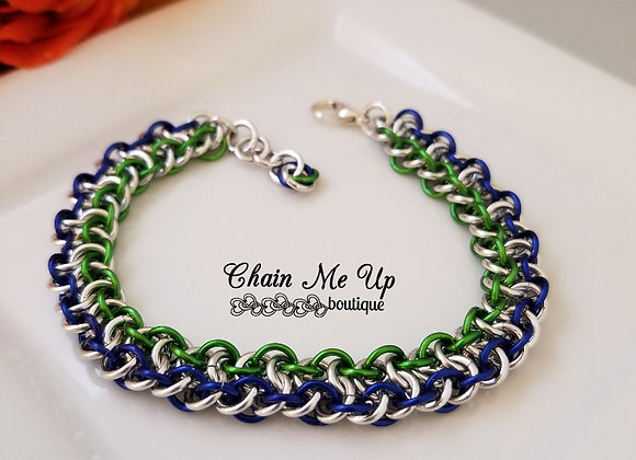 Viper Silver, Green, Blue Bracelet