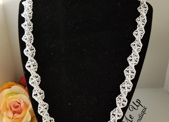 """Twisted """"DNA"""" Silver Necklace"""