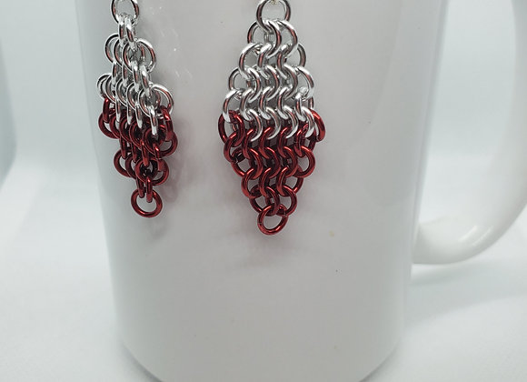 Diamond Style Earrings Silver/Red