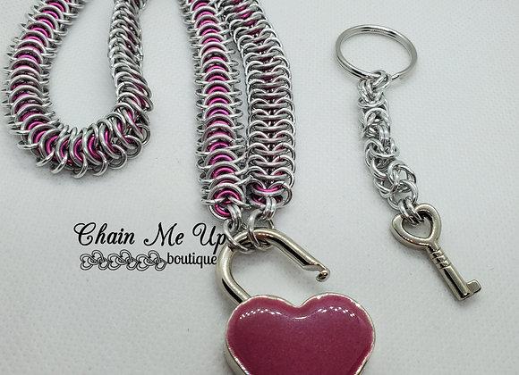 Locking Heart Collar - Pink