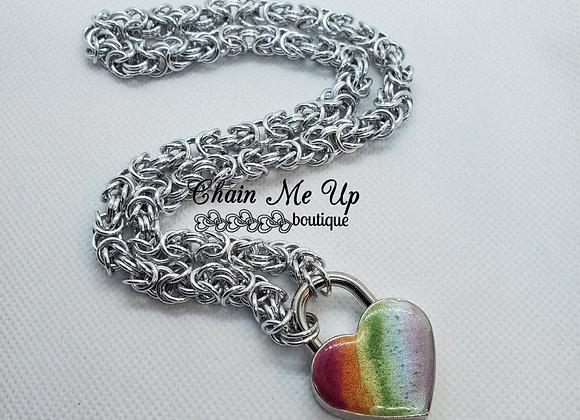 Locking Heart Collar- Rainbow