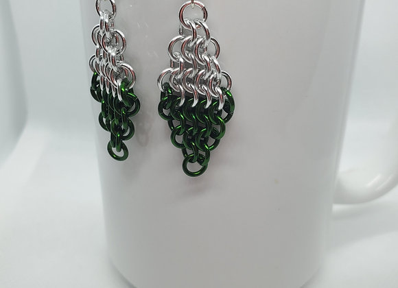 Diamond Style Earrings Silver/Grn