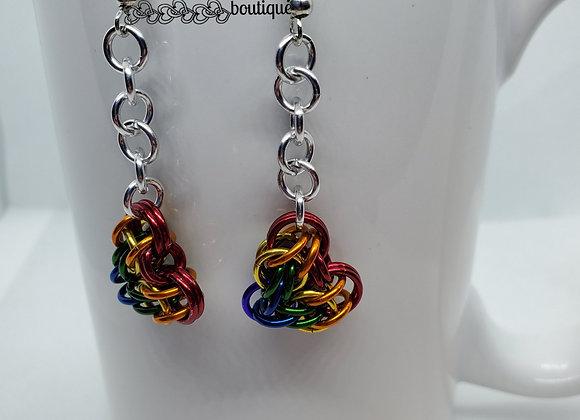 Heart Earrings - Rainbow Dangle