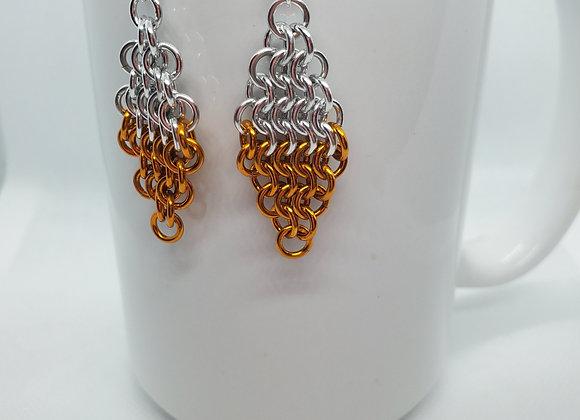 Diamond Style Earrings Silver/Orange