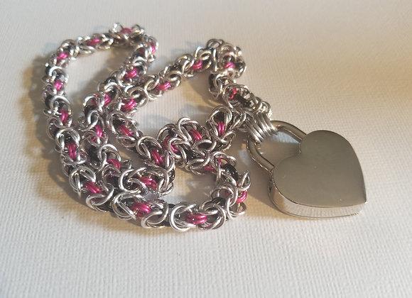 Locking Heart Collar - Pink/Blk