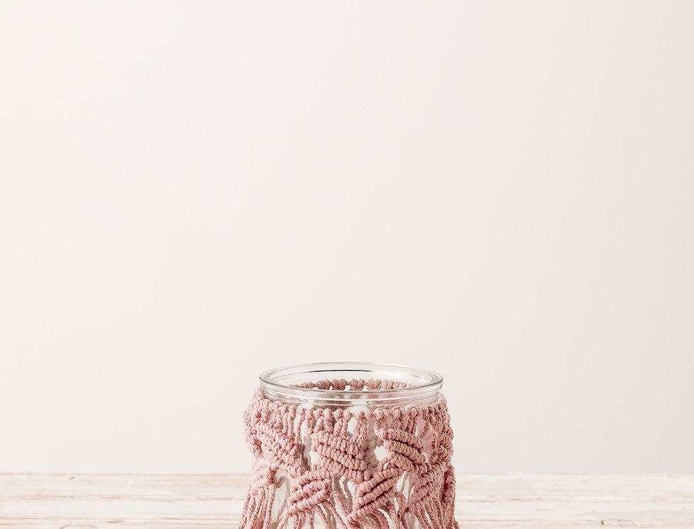 Windlicht Makramee, rosa