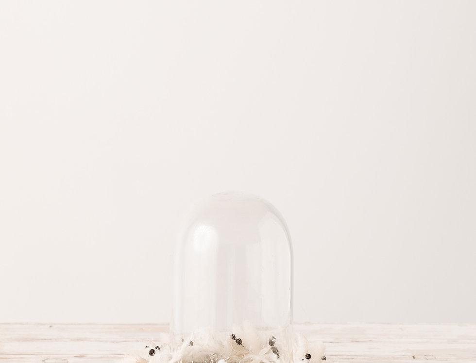 Glasglocke mit Blumenkranz, groß