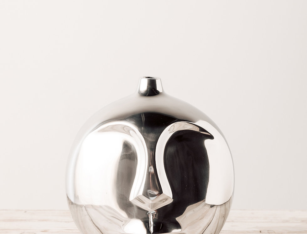 B.O.B. Alu Vase Gesicht silber groß