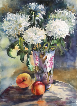Chrysanthemums and peaches