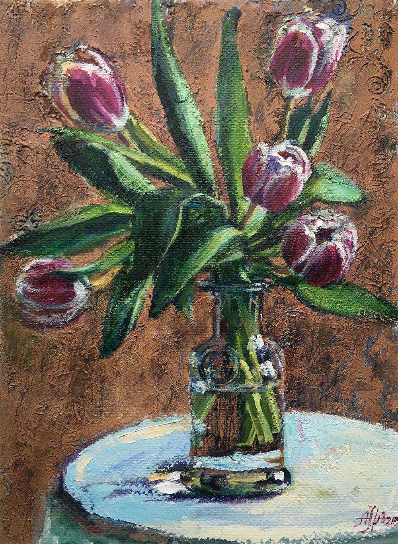 Тюльпаны на голубом