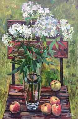 «Флоксы  и яблоки в саду»