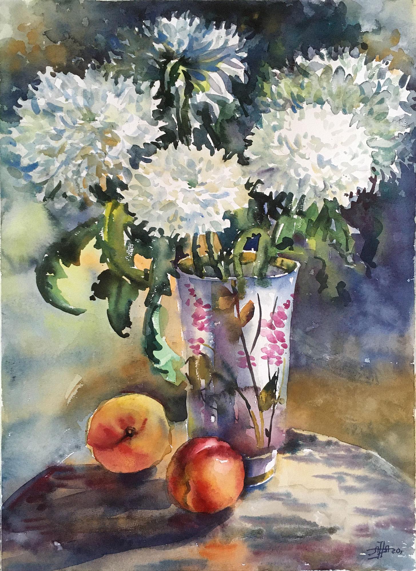 Хризантемы и персики