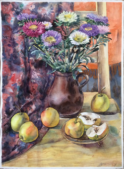 Chrysanthemums and pears