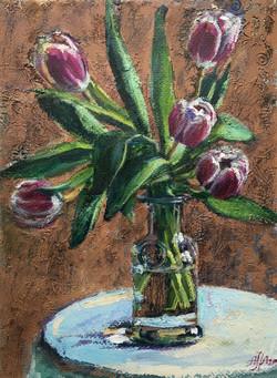 Tulips on blue