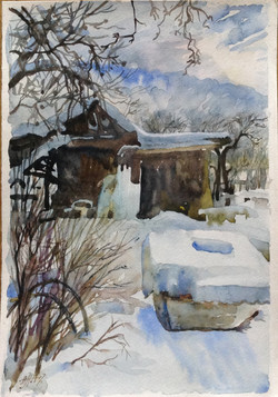 A barn and well